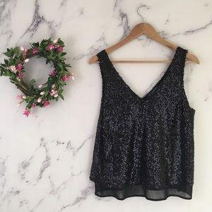 One Clothing Sequin Chiffon Tank Top